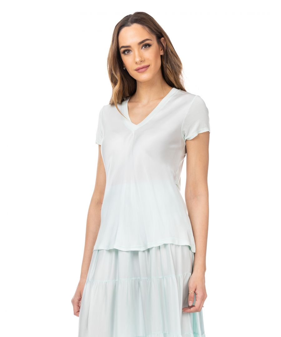 Image for Satin silk top with shirt sleeves