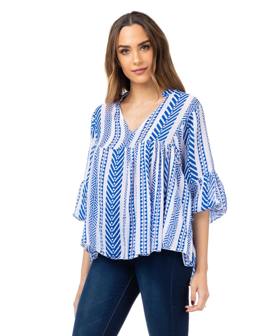 Image for Flared top with ethnic print