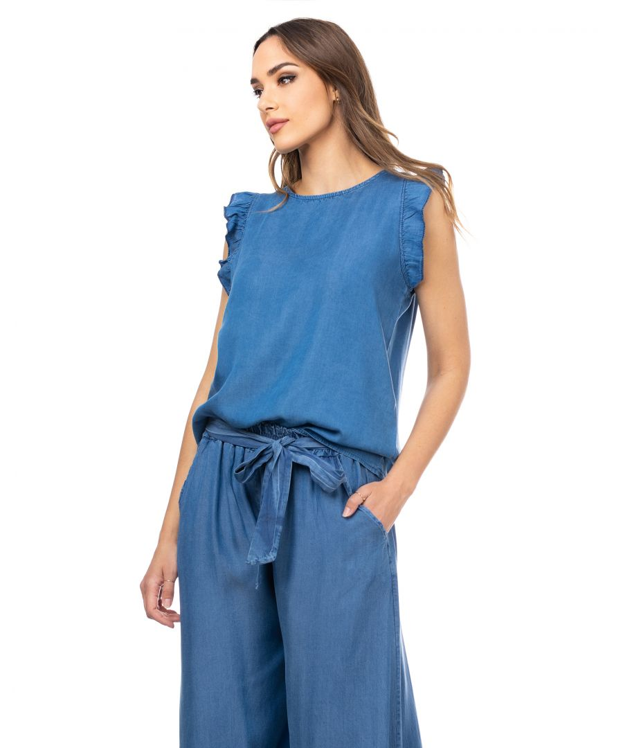 Image for Denim top with ruffled sleeves