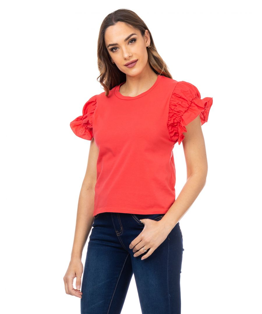 Image for T-shirt with elastic puffed sleeves