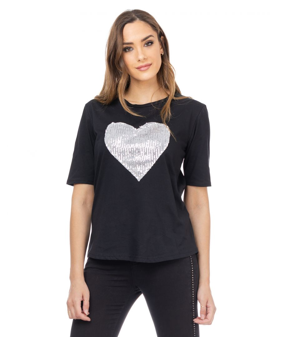 Image for T-shirt with sequined heart
