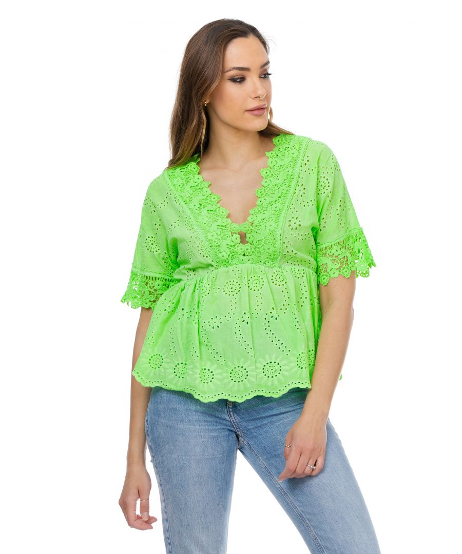 Image for V neck neon blouse with embroidered flowers and elastic waist