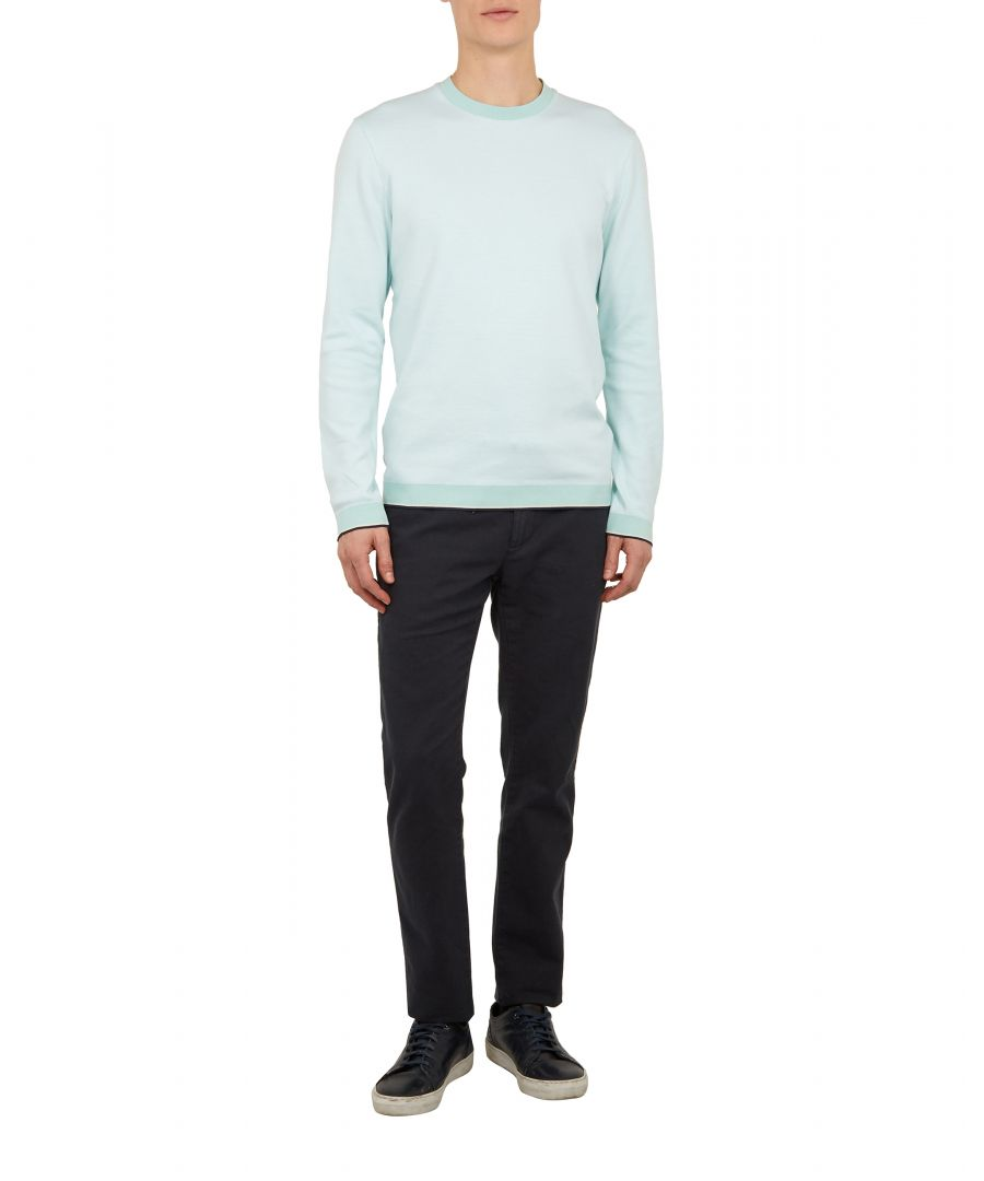 Image for Ted Baker Toyde Long-Sleeved Oxford Jersey Crew Neck, Mint