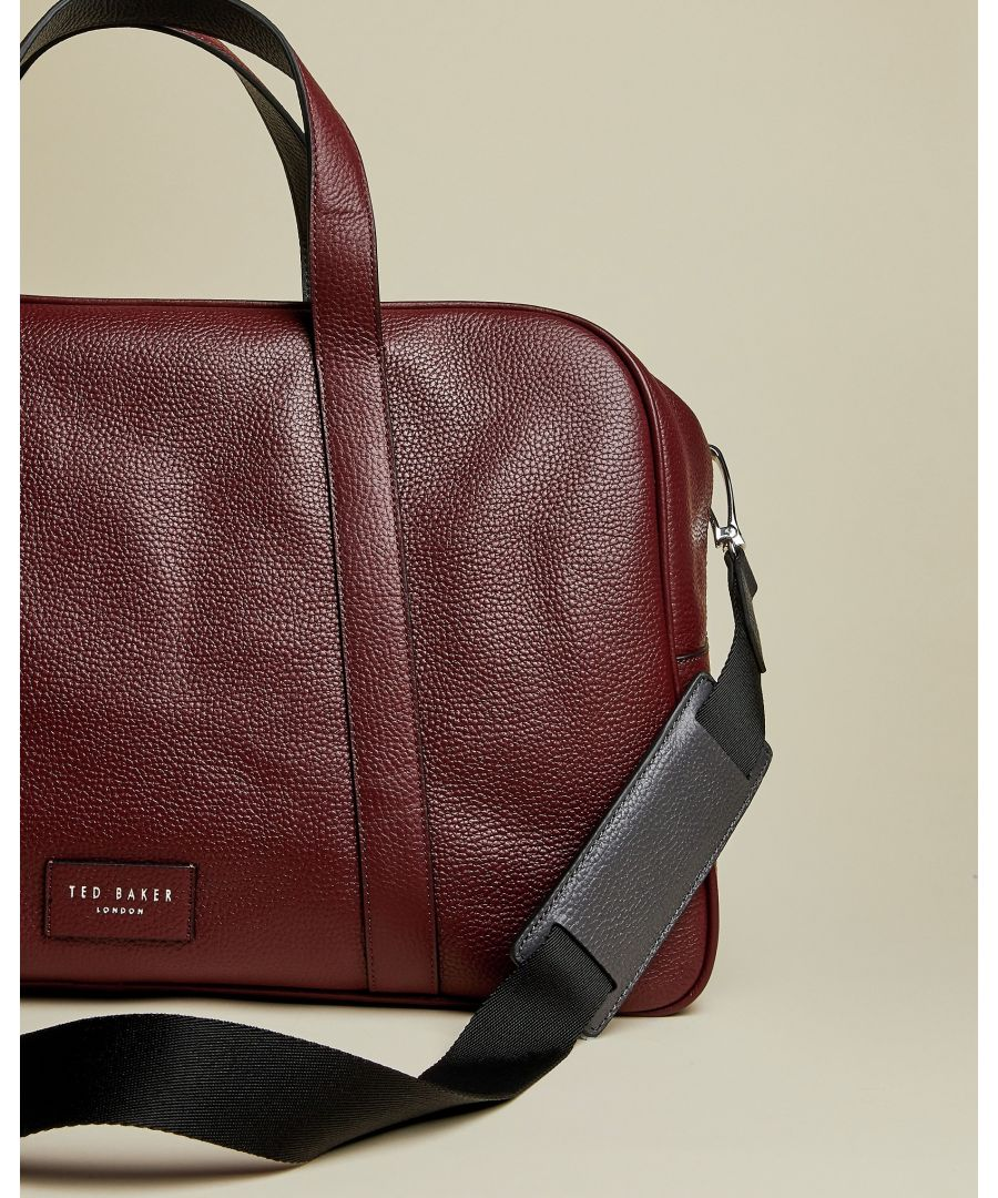 Image for Ted Baker Traves Leather Holdall, Dark Red