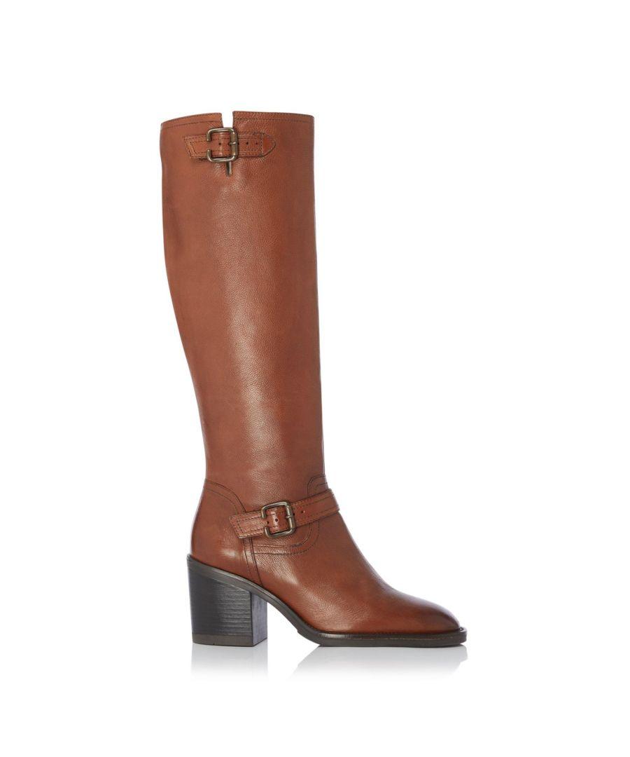 Image for Dune Ladies TRELIS Double Buckle Block Heel Knee High Boots