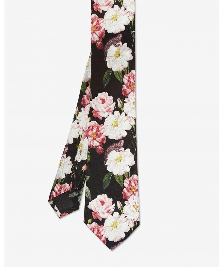 Image for Ted Baker Trollee Floral Printed Tie, Black