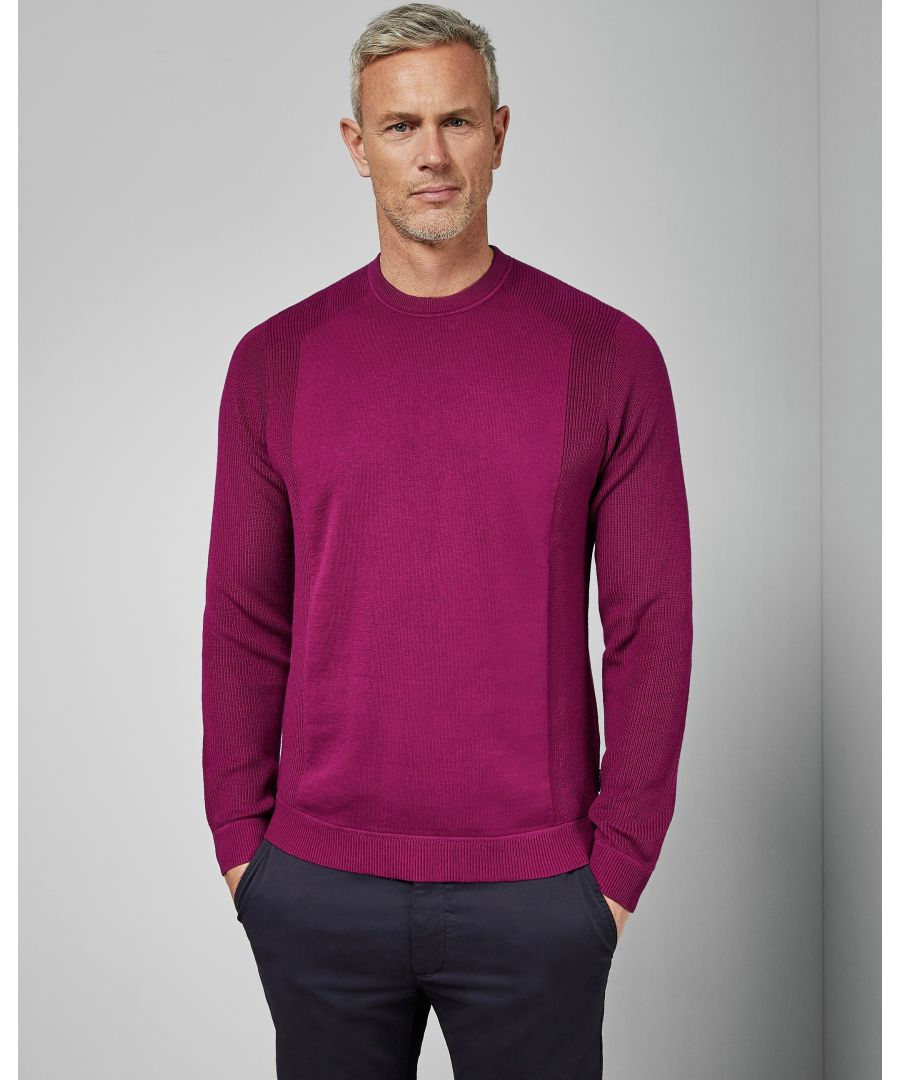Image for Ted Baker Trulltt Long-Sleeved Textured Sleeve Crew Neck, Pink