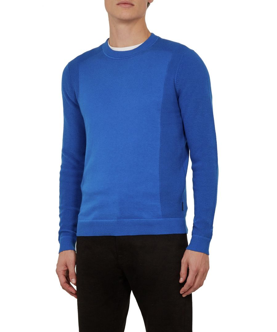 Image for Ted Baker Trull Long-Sleeved Textured Sleeve Crew Neck, Blue