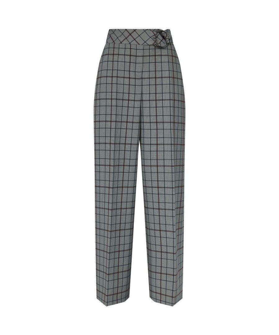 Image for Ted Baker Marrni Checked Wide Leg Trouser, Light Grey