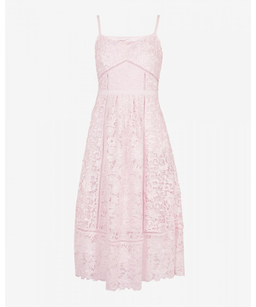 Image for Ted Baker Valens Mixed Lace Midi Dress, Pale Pink