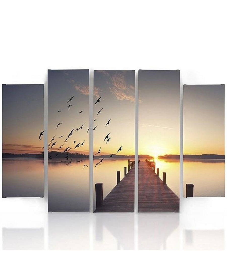 Image for Canvas Print - Sunset On The Pier Cm. 150x100 (5 Panels)