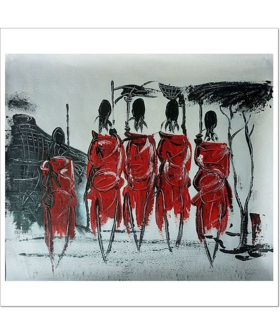 Image for Oil Painting - Tribe In Red Cm. 50x60