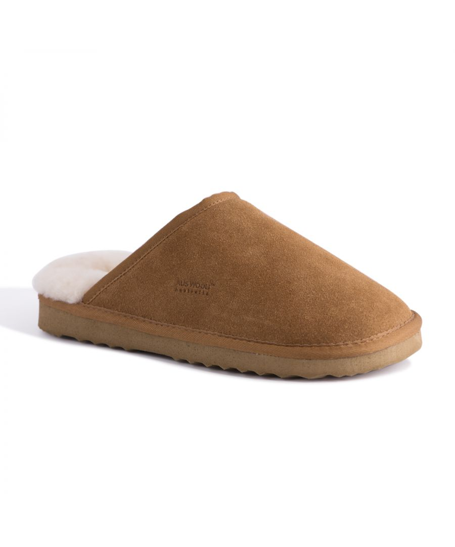 Image for Aus Wooli Australia Sheepskin Wool Slippers Manly Tan