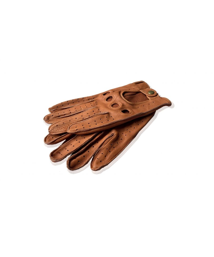 Image for Mens Tan Deer Skin Perfortated Leather Driving Glove