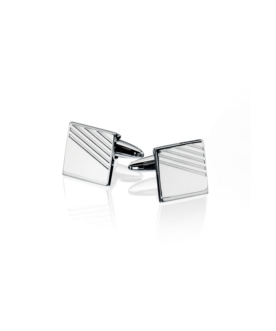 Image for Fred Bennett Mens Stainless Steel Ribbed Detail Square Cufflinks