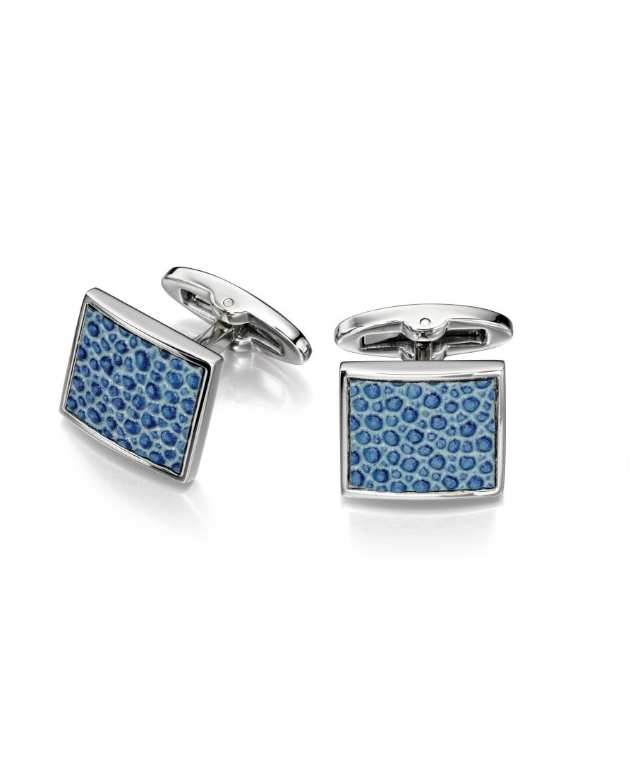 Image for Fred Bennett Mens Stainless Steel Blue Leather Textured Square Cufflinks