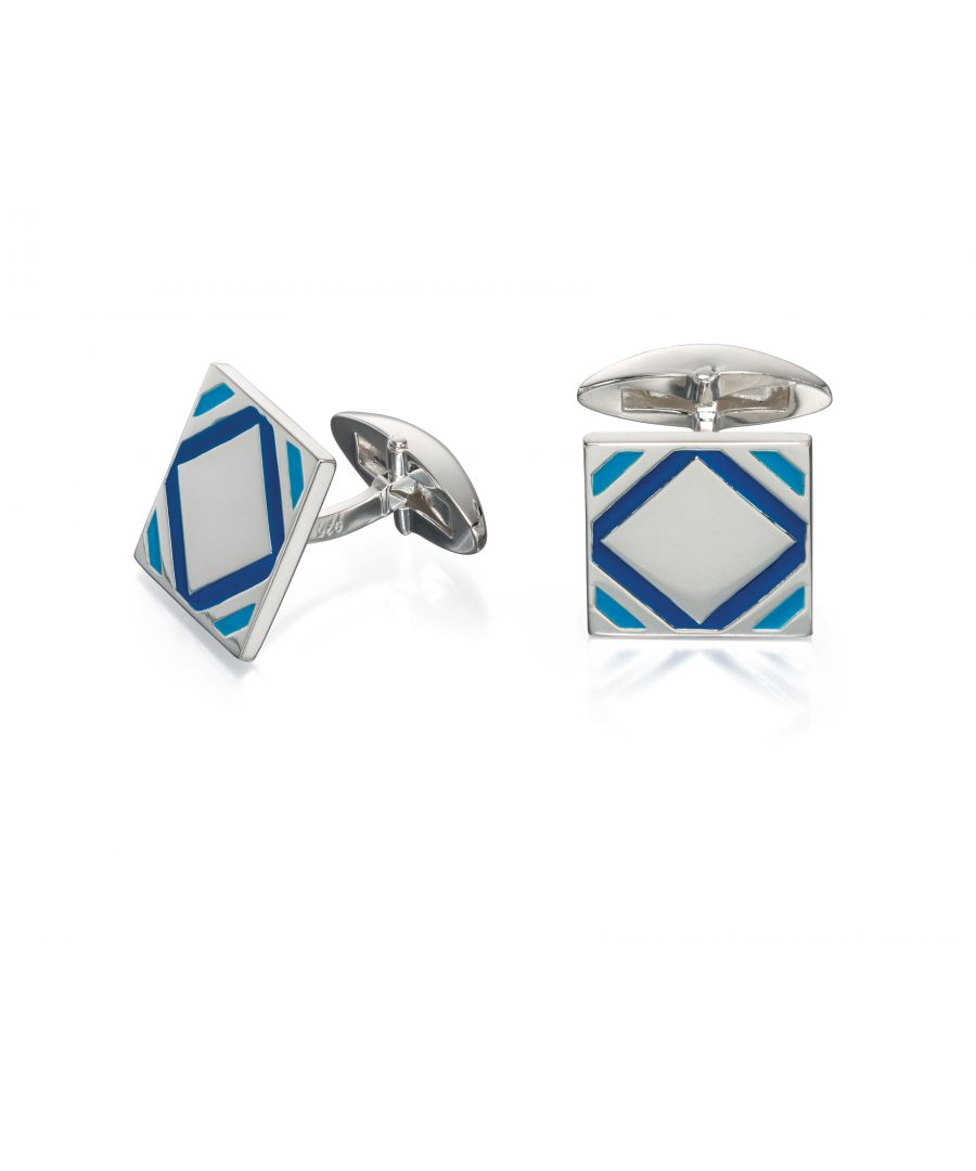 Image for Fred Bennett Mens 925 Sterling Silver Blue Epoxy Patterned Square Cufflinks