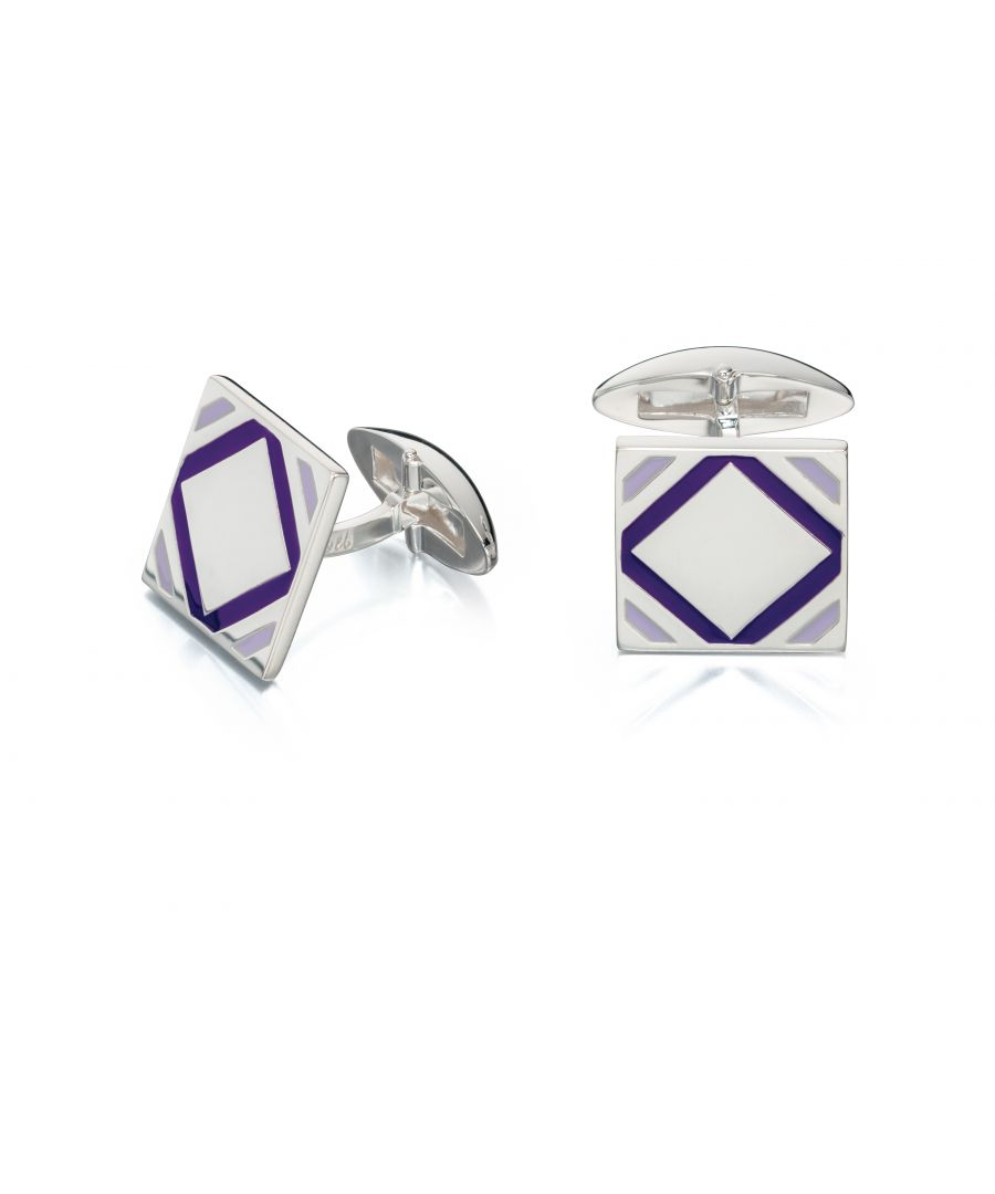 Image for Fred Bennett Mens 925 Sterling Silver Purple Epoxy Patterned Square Cufflinks