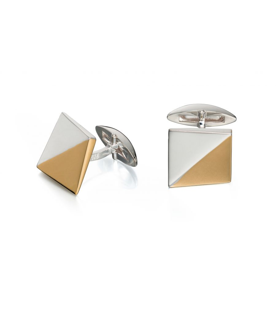 Image for Fred Bennett Mens 925 Sterling Silver with Gold Plating Two Tone Triangle Pattern Square Cufflinks