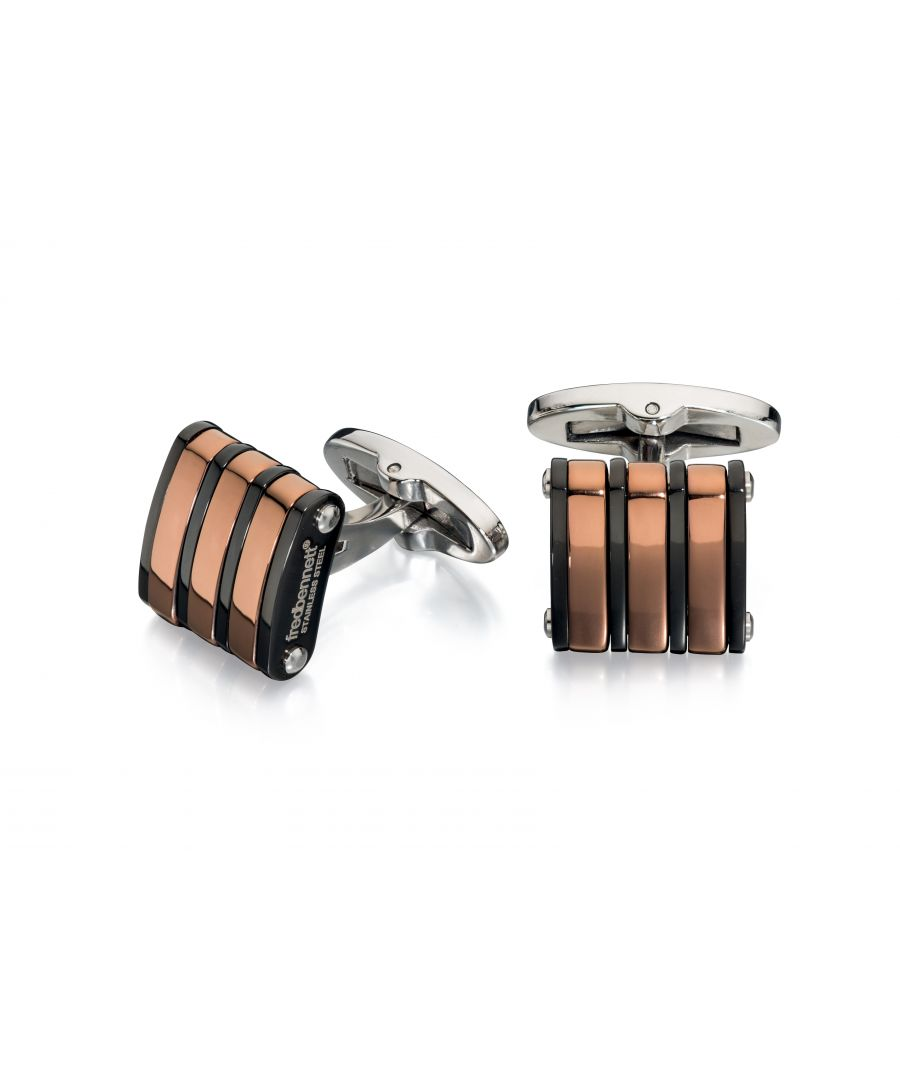 Image for Fred Bennett Mens Stainless Steel Black & Brown PVD Plate Stripes Square Cufflinks