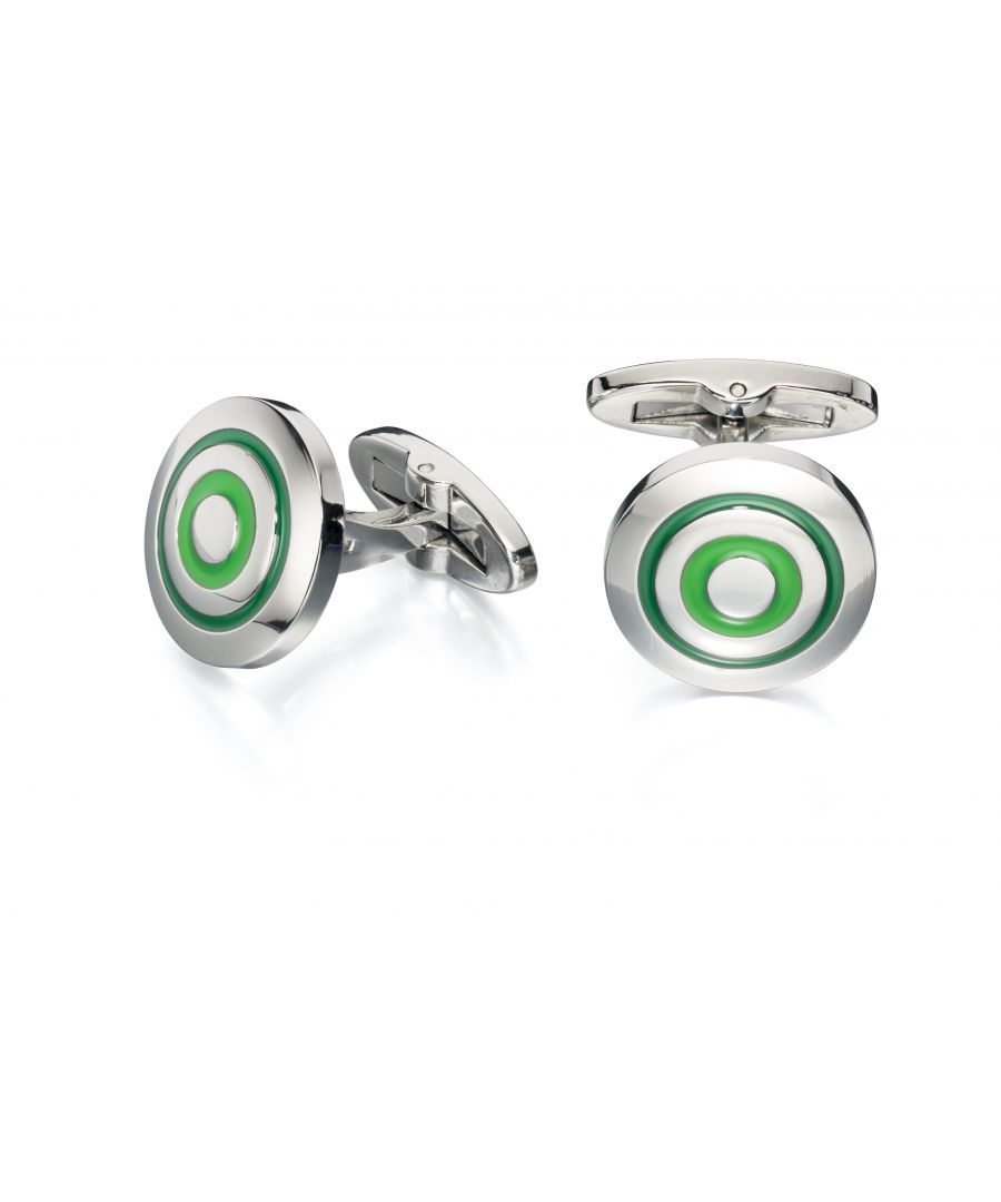 Image for Fred Bennett Mens Stainless Steel Green Enamel Round Cufflinks