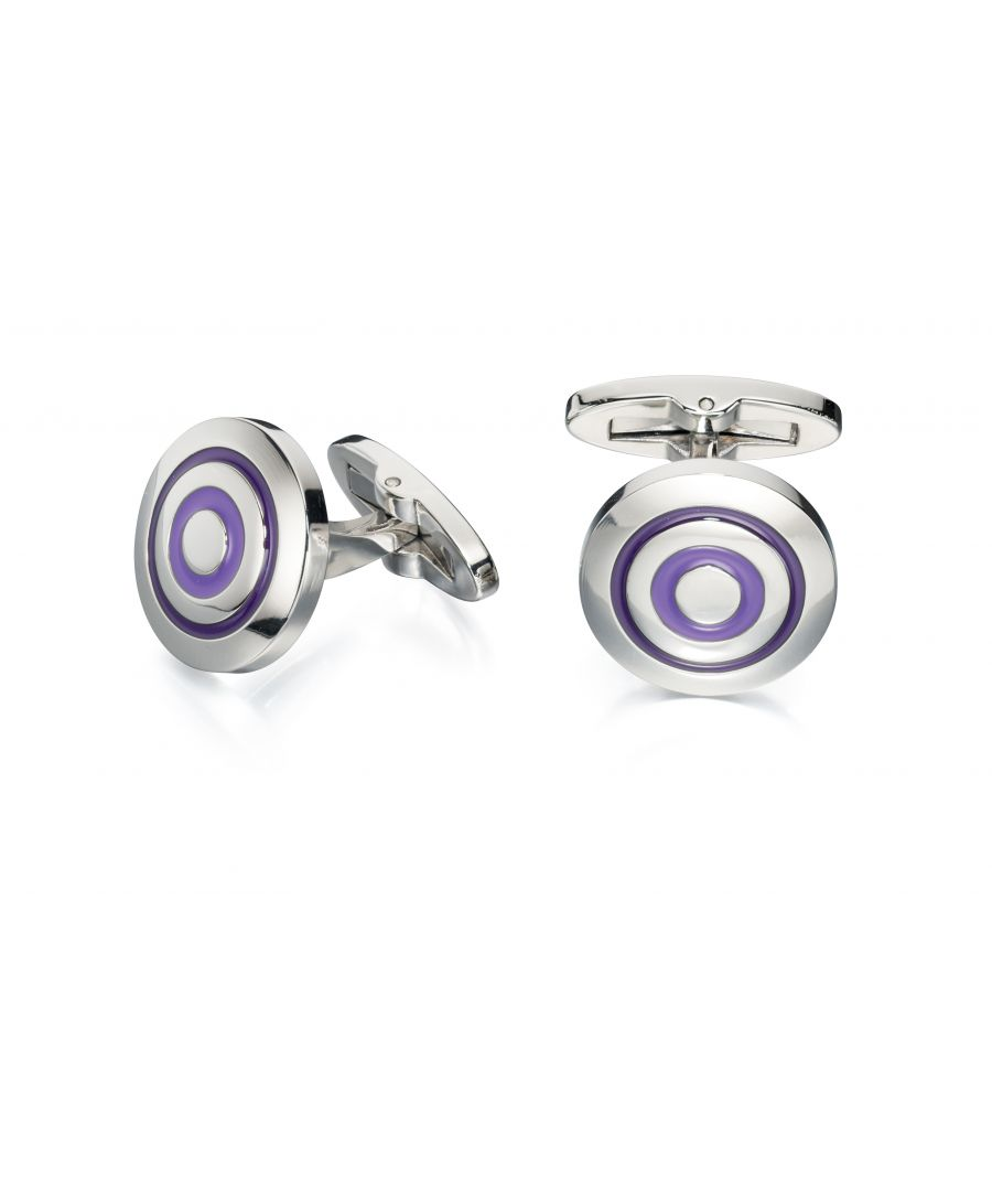 Image for Fred Bennett Mens Stainless Steel Purple and Lilac Enamel Circles Round Cufflinks