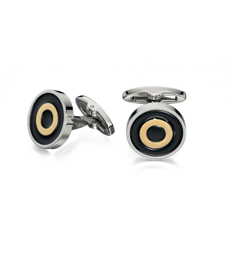 Image for Fred Bennett Mens Gold PVD and Black Enamel Stainless Steel Round Cufflinks