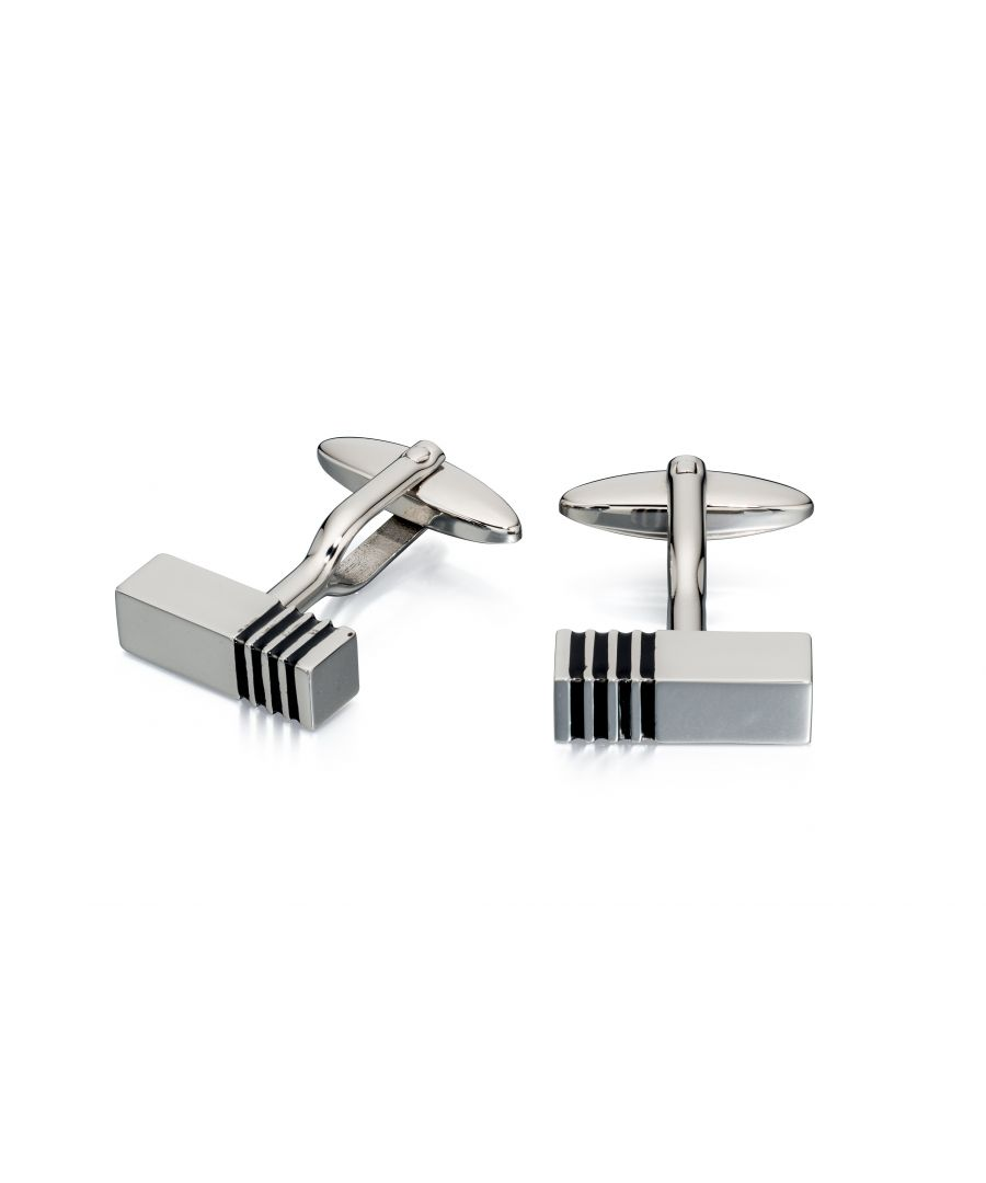 Image for Fred Bennett Mens Stainless Steel Black Enamel Striped Rectangular Cufflinks