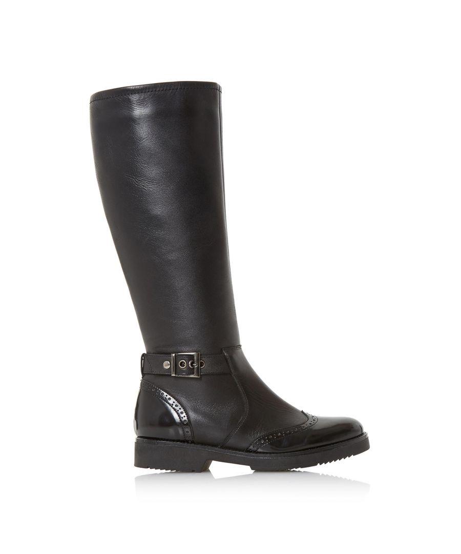 Image for Dune Ladies VENTURE High Leg Brogue Biker Boots