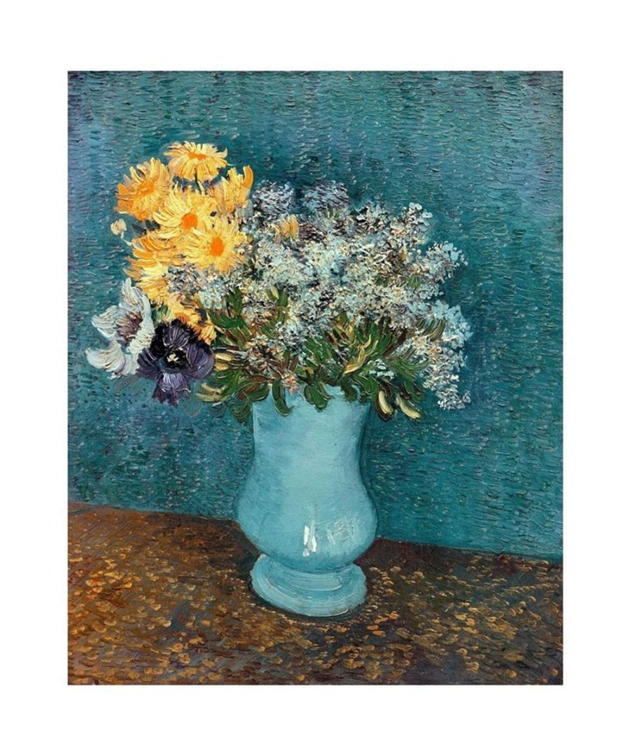 Image for Canvas Print - Vase With Lilacs, Daisies And Anemones - Vincent Van Gogh Cm. 60x80