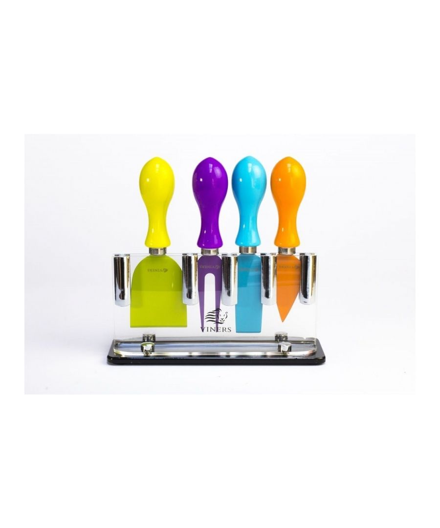 Image for Viners Coloured 4 Piece Cheese Knife Set With Stand