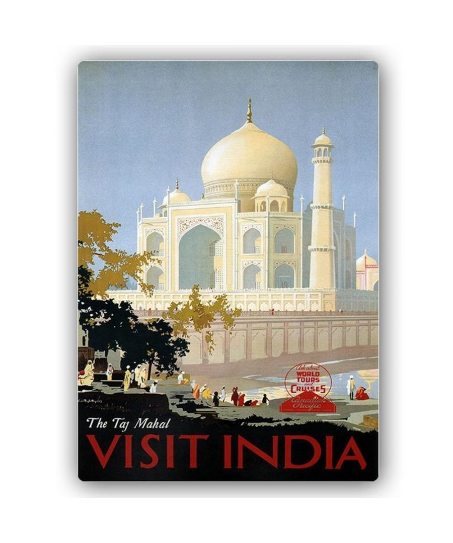 Image for Vintage Tourist Poster - Metal Print  - Visit India