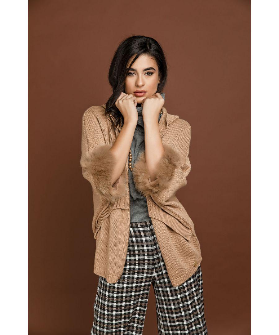 Image for Beige Fur Detail Hooded Cardigan