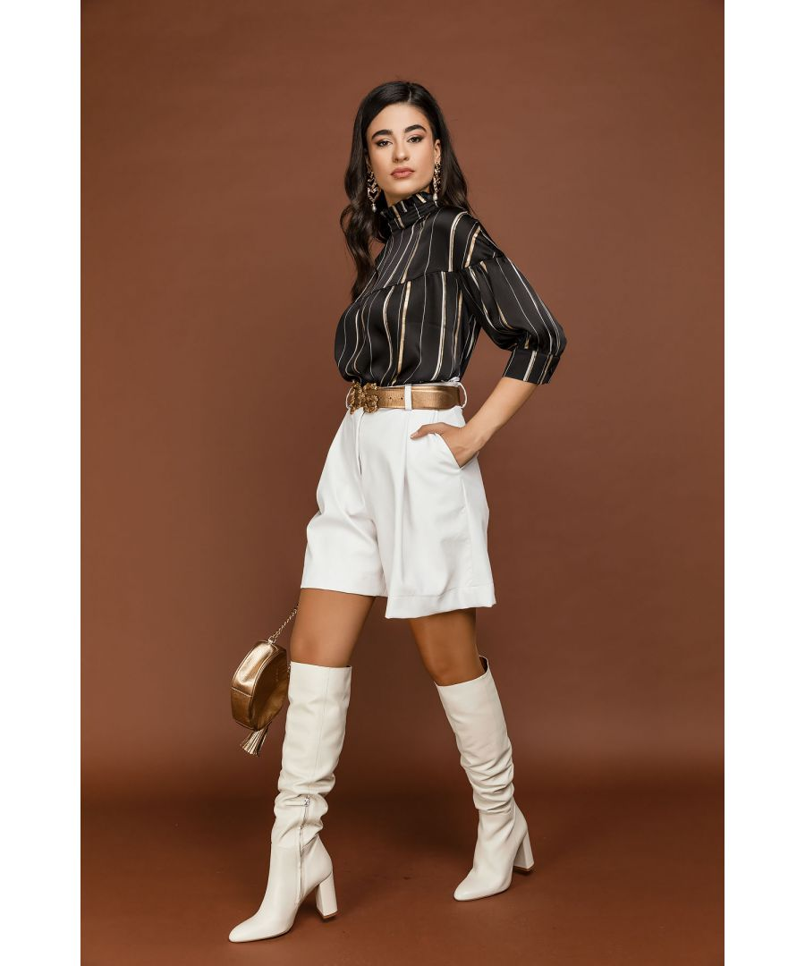 Image for White Faux Leather Bermuda Shorts