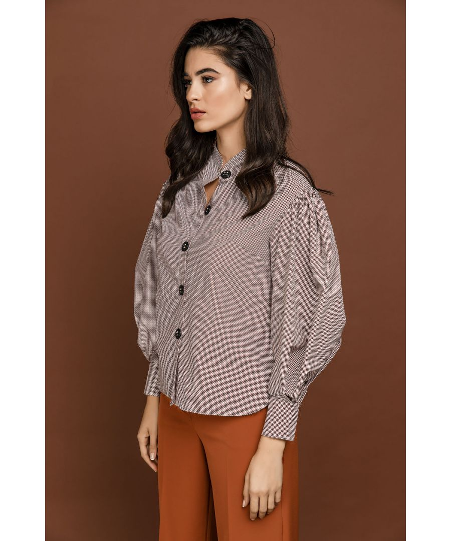 Image for Brown Check Blouse with Puff Sleeves