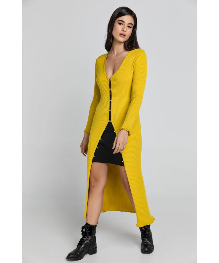 Image for Long Dark Yellow Knit Cardigan