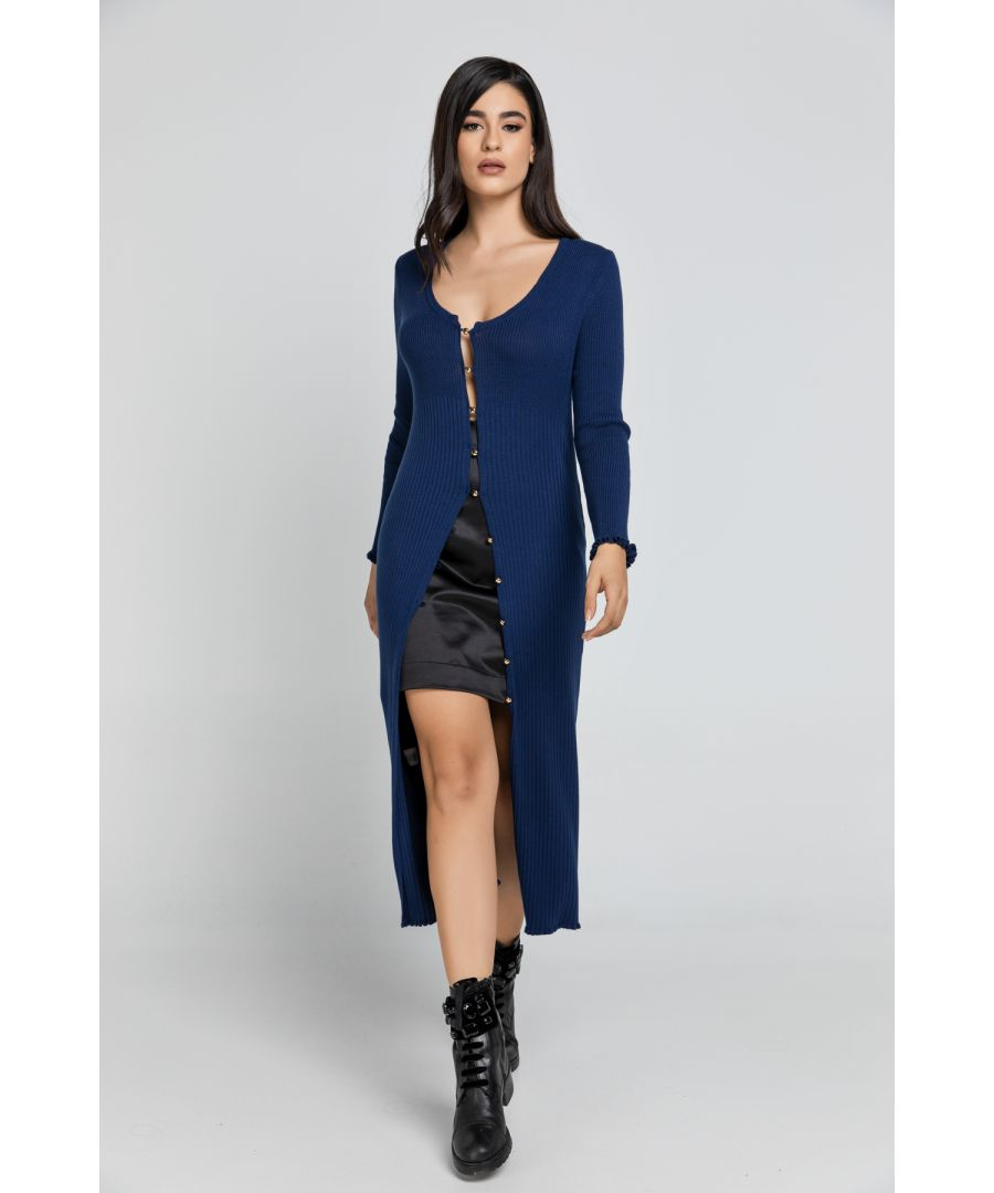 Image for Long Dark Blue Knit Cardigan