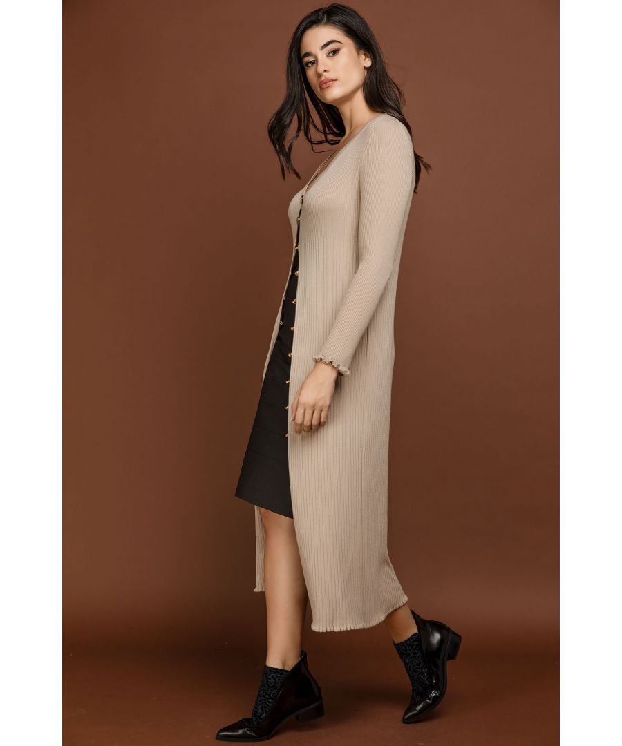 Image for Ruffle Detail Long Cardigan by Si Fashion