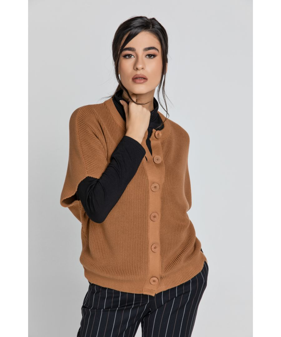 Image for Sleeveless Camel Cardigan