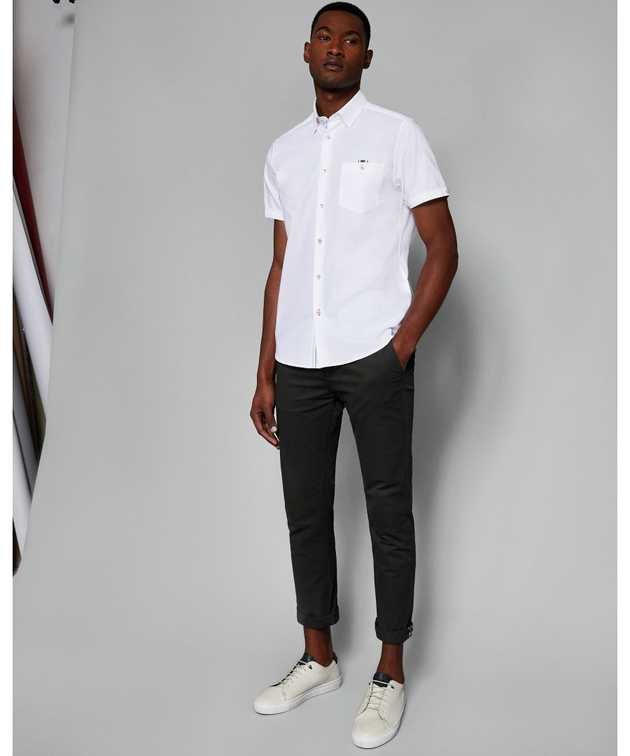 Image for Ted Baker Wallooo Short-Sleeved Oxford With Stripe, White