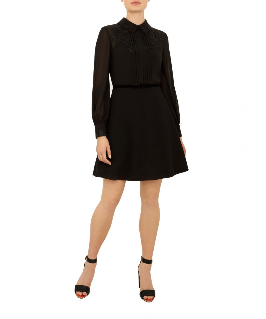 Image for Ted Baker Amaali Embellished Dress With Collar, Black