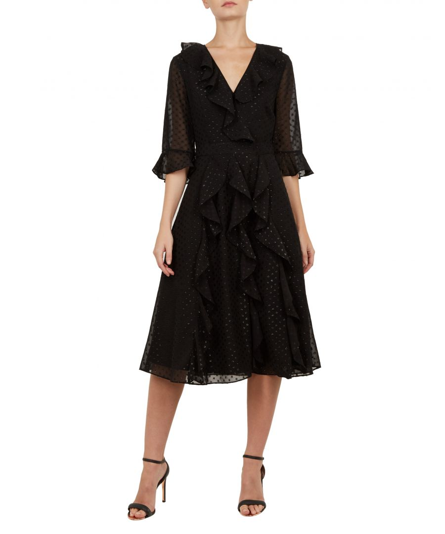 Image for Ted Baker Ardeel V Neck Ruffle Fluted Sleeved Dress, Black