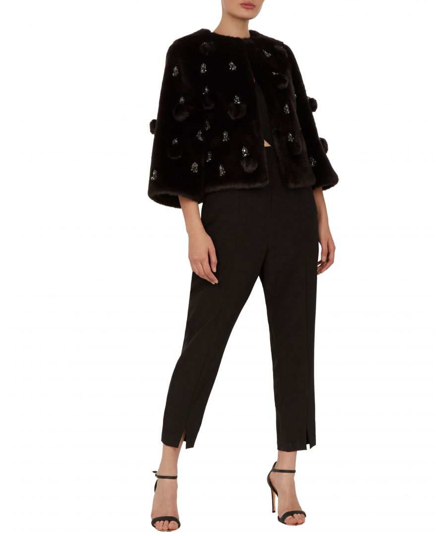 Image for Ted Baker Billiee Embellished Cropped Faux Fur, Black