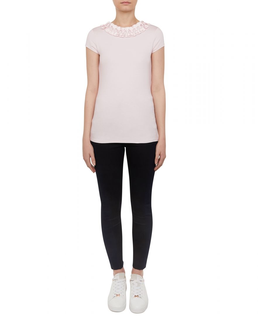 Image for Ted Baker Charre Bow Neck Trim Detail Tee, Nude Pink