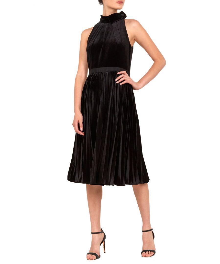 Image for Ted Baker Cornela Pleated Velvet Midi Dress, Black