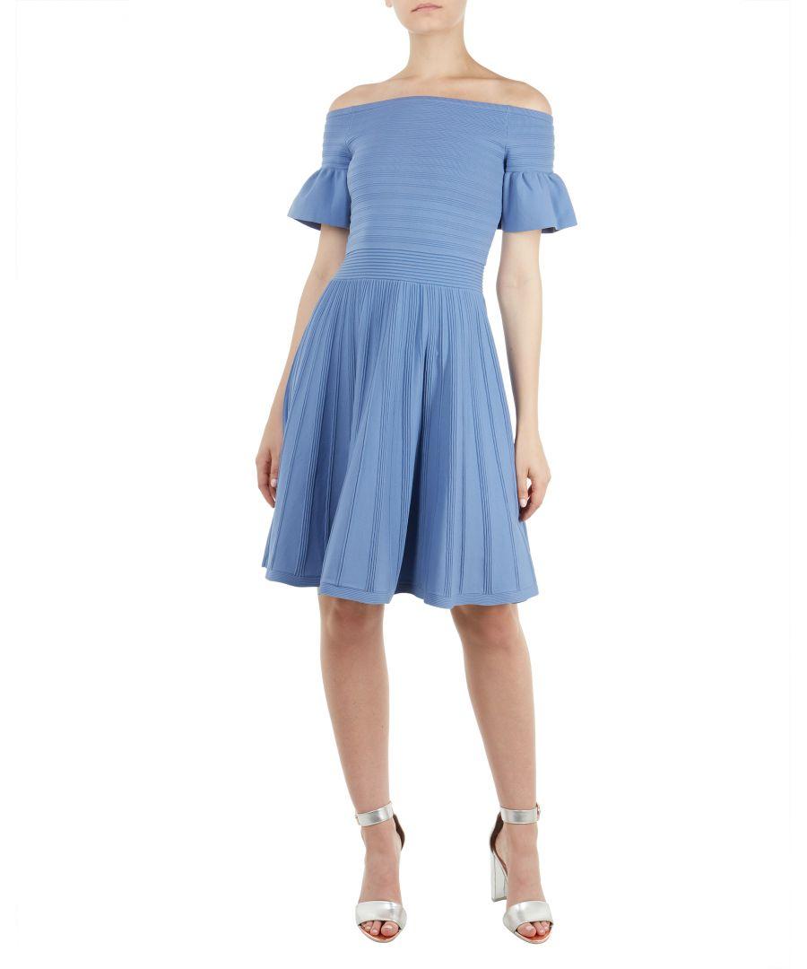 Image for Ted Baker Criptum Bardot Frill Knitted Skater Dress, Light Blue