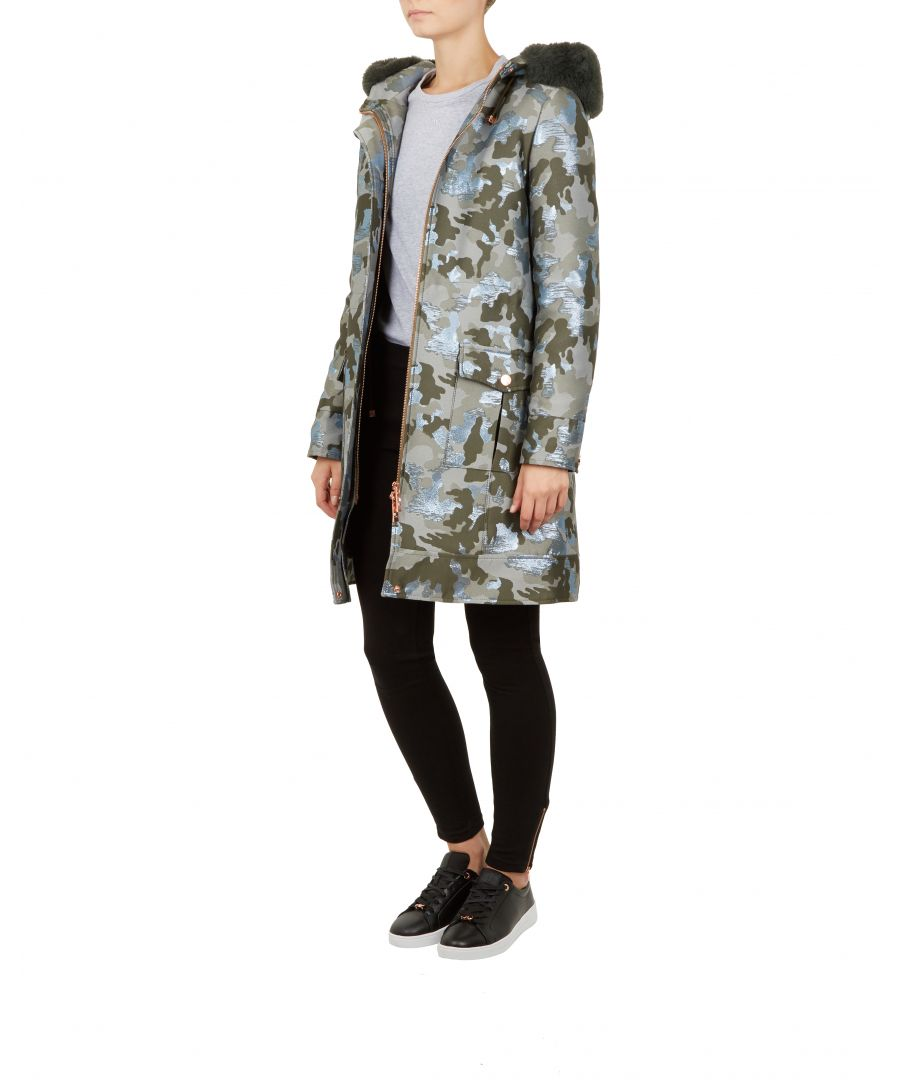 Image for Ted Baker Eleanaa Camo Jacquard Hooded Parka, Khaki