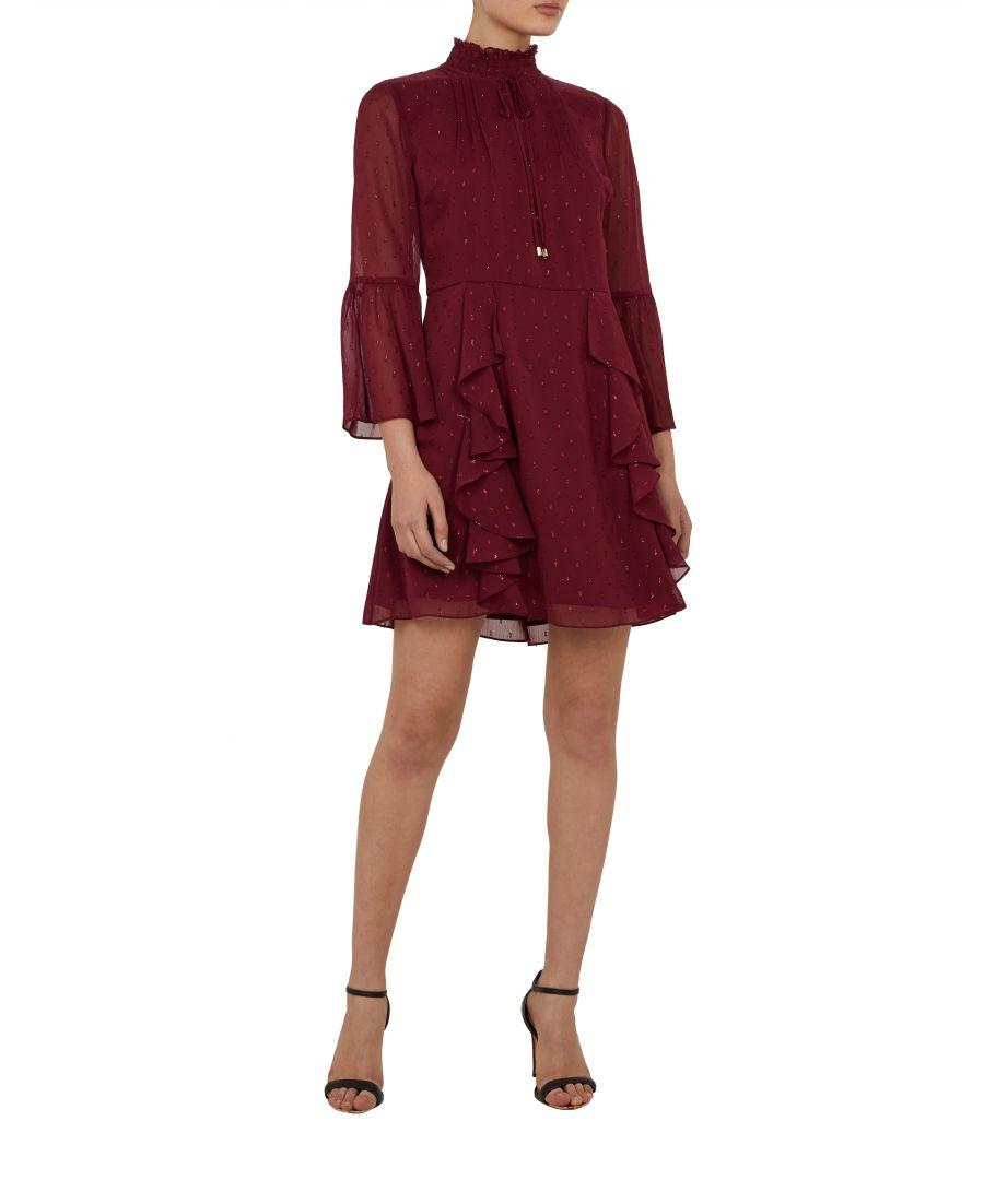 Image for Ted Baker Haleat Dobby Ruffle Skirt Dress, Maroon