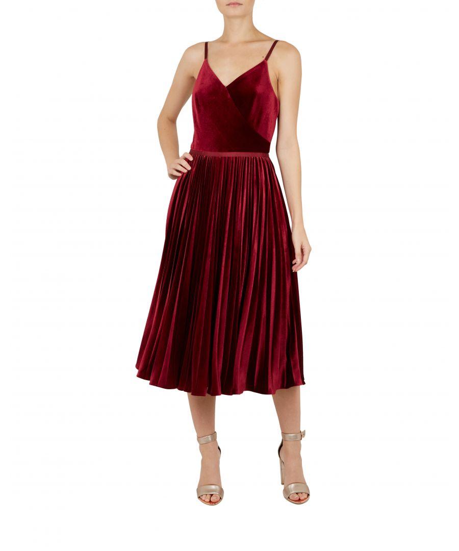 Image for Ted Baker Khim Velvet Pleated Midi Dress, Maroon