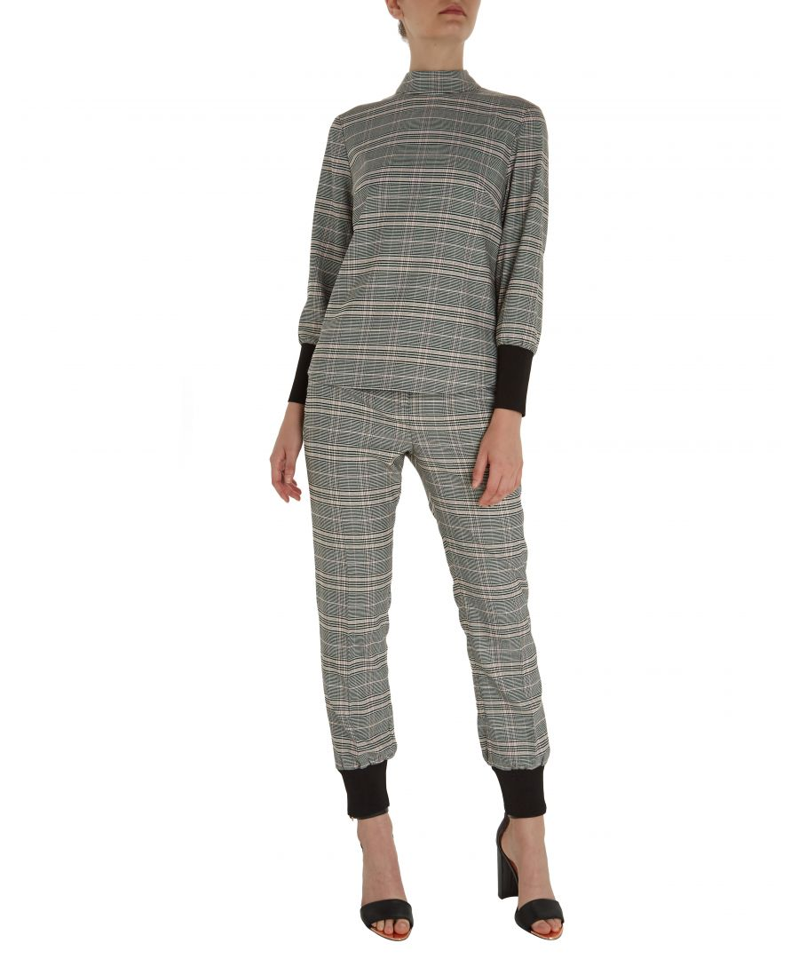 Image for Ted Baker Kimmto Wool Check Ribbed Cuff Long-Sleeved Top, Grey